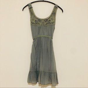 Cute olive color dress size small crochet design